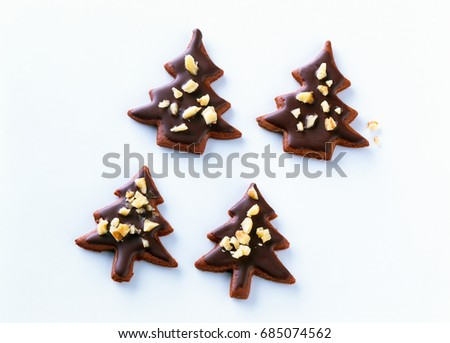 Christmas Tree Shaped Biscuits Chocolate On Stock Photo Edit Now