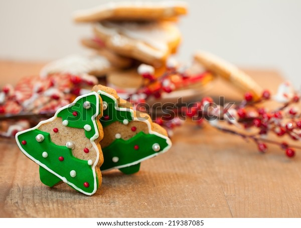 Christmas Tree Shaped Cookies On Wooden Stock Photo Edit Now 219387085
