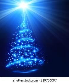 christmas tree with shining star