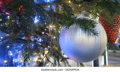 Christmas tree silver  ball with Christmas tree branch