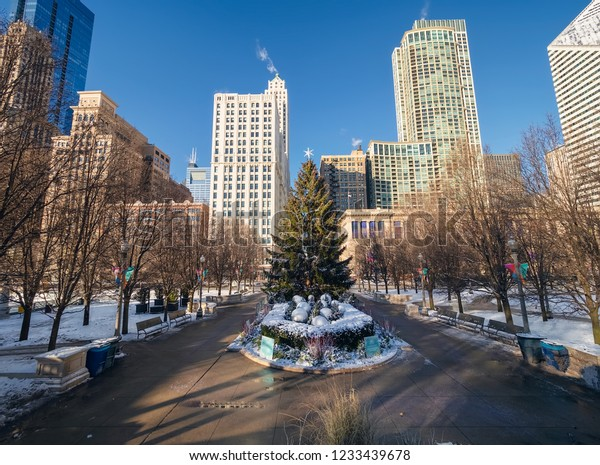 Christmas Tree Downtown Chicago.Christmas Tree Skyscrapers Downtown Area Chicago Stock Photo