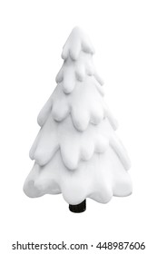 Christmas tree with snow isolated on white ,decoration for Christmas holiday season.