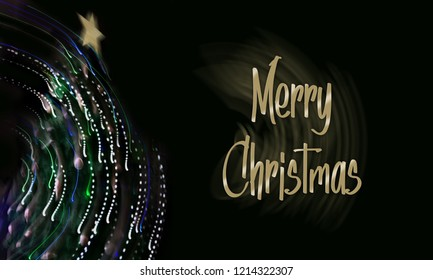 Christmas tree with sparling and motion effect. Black bakcground