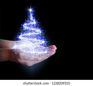 Christmas tree of stars and lights in their hands