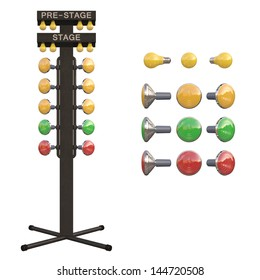 Christmas tree starting system used in drag racing contest.  Over white, easy to isolate.