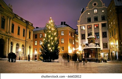 Christmas tree at Stortorget in Gamlastan, Stockholm, Sweden