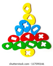 Christmas tree toy of the elements, geometric shapes, bright colors