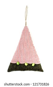 Christmas tree toy made of  fabric with decorations isolated on white background