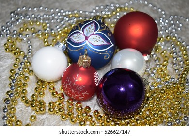 Christmas tree toys and balls and decorative threads