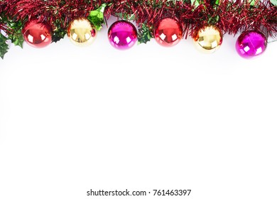Christmas tree and toys composition with copy space  on white background