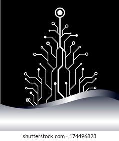 christmas tree vector background. bitmap