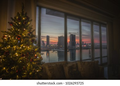 A Christmas tree and a view in Bahrain.