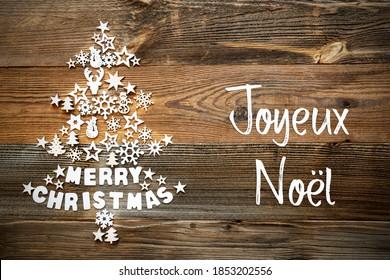 Christmas Tree, White Decoration, Joyeux Noel Means Merry Christmas
