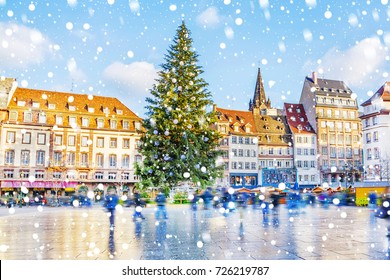 Christmas tree and xmas market at Kleber Square in medieval city of Strasbourg - capital of Noel, Alsace, France.