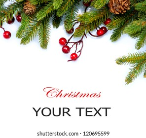Christmas..Fir tree.Pine tree. Evergreen Border Design.Frame.Isolated on a white background