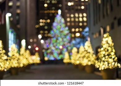 """""""Christmas Trees Blur"""" An abstract blur of Christmas trees in Rockefeller Center in New York City."""