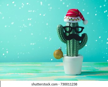 Christmas in tropical climate concept. Cactus as hipster christmas tree with santa hat