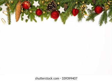 Christmas upper decoration with balls, stars  and cones  on white background.