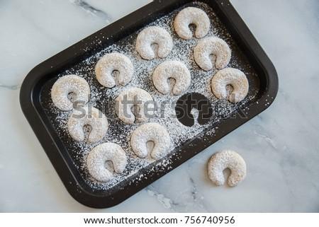 Christmas Vanilla Nut Crescent Cookies Stock Photo Edit Now
