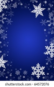 christmas vector snowflakes in a gradient blue background