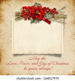 Christmas vintage background with card and wishes