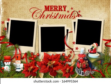 Christmas vintage background with frames for family