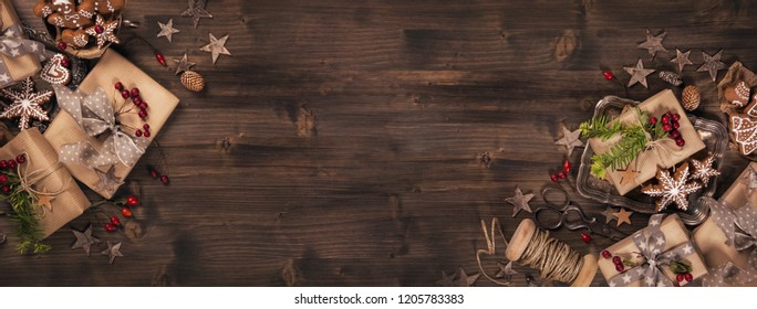 Christmas vintage gifts on a wooden background
