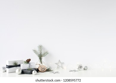 Christmas wall mock-up. Write on the wall. Scandinavian style. Wall art.