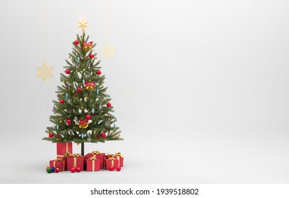 Christmas wallpaper with tree and gifts
