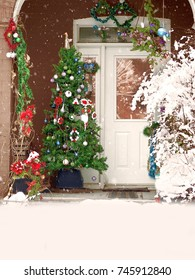 christmas welcome doorway with xmas tree seasonal decoration and snow on front