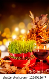 Christmas wheat and wine glass on the table. Christmas orthodox celebration.