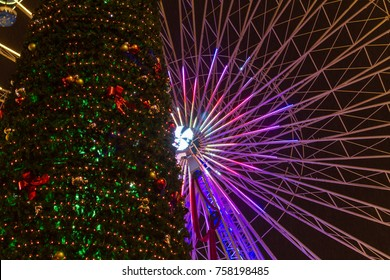 Christmas wheel Lille Grand Place 2017. Lille Christmas market at night with big wheel, christmas tree and lights. Noel