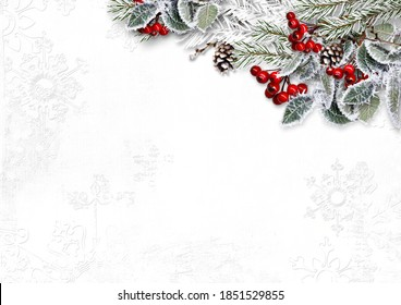 Christmas white background with beautiful fir tree border and red berries