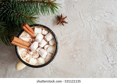 Christmas white background with cup of hot cocoa and marshmallow