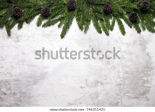 Christmas White Background Fir Branches Fir Stock Photo (Edit Now