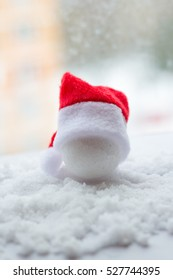 Christmas white background with Christmas hats.