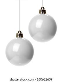 christmas white christmas balls isolated hanging with white background - White Christmas Balls