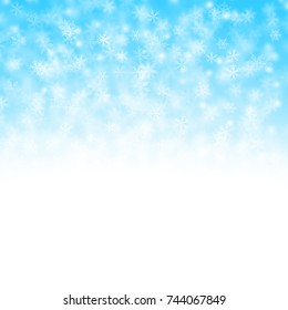 Christmas white and blue background with snow flakes