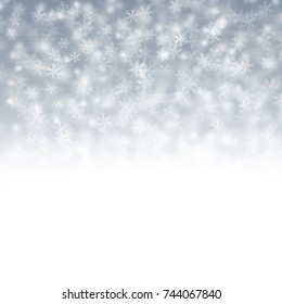 Christmas white and light blue background with snow flakes
