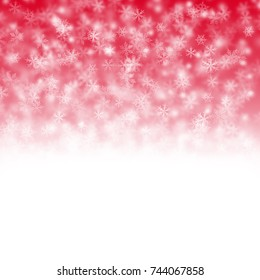 Christmas white and red background with snow flakes