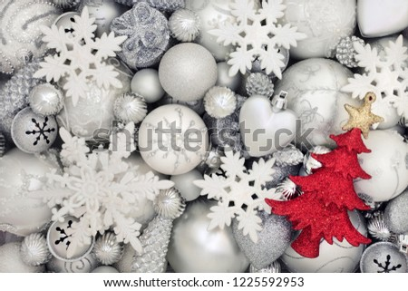 7fe876760d57 Christmas white and silver baubles with red tree decoration forming an  abstract background. Traditional christmas