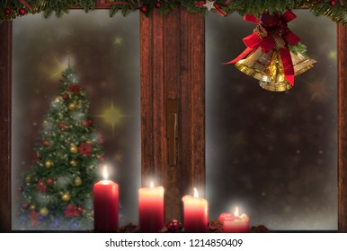 Christmas window 4 candles,golden bells,decorations,snow,tree background for greeting card space for text