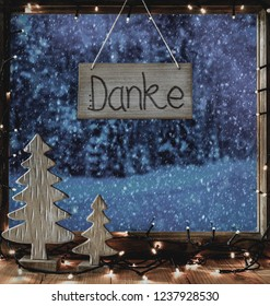 Christmas Window, Calligraphy Danke Means Thank You, Snowflakes