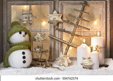 christmas window with decoration