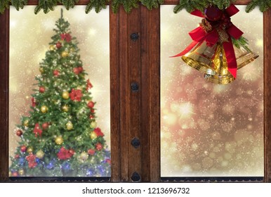 Christmas window,golden bells,decorations,snow,tree background for greeting card space for text