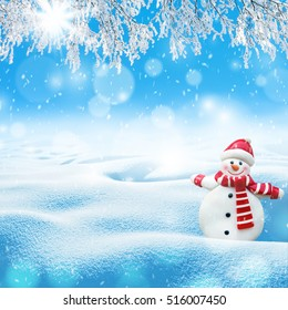 Christmas winter background with cheerful snowman greeting cards