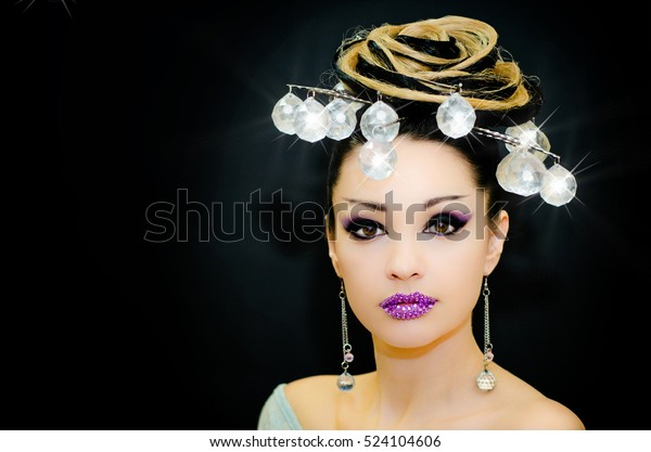 Christmas Hairstyles For Black Girls.Christmas Winter Fashion Model Girl Golden Stock Photo Edit