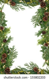 Christmas and winter floral border with mistletoe, ivy, holly and winter greenery over white background.