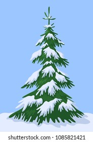 Christmas Winter Landscape, Green Fir Tree with White Snow Against the Blue Sky.