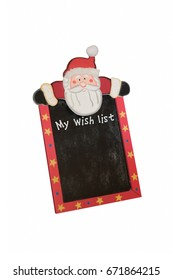 A christmas wish list blackboard isolated on a white background